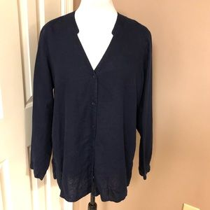 Eileen Fisher l Navy Linen Button down Top